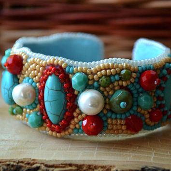 Turquoise Red Bracelet Bead Embroidered Bead Embroidery Cuff Bracelet Beadwork Bracelet Seed Bead Bracelet Embroidered Jewelry Beaded