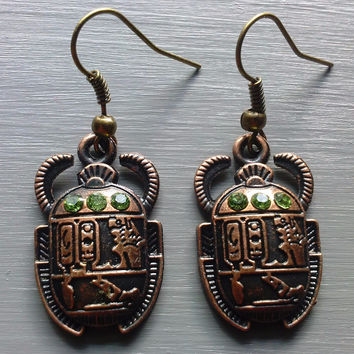 Bronze Scarab Beetle Earrings