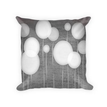 Abstract Dandelions Woven Cotton Throw Pillow