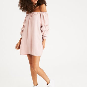 AEO Tiered-Sleeve Off-the-Shoulder Dress, Blush