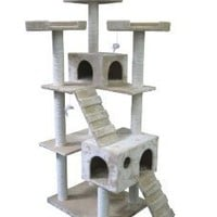 BestPet Cat Tree Pet House Condo Activity, 73-Inch, Beige