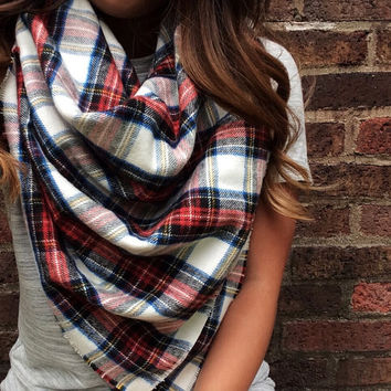 Multicolor Plaid Blanket Scarf | flannel