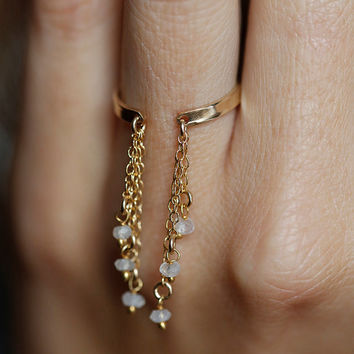 Gold Chain Ring, Gold Moonstone Ring, Drop chain Ring