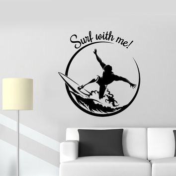 Wall Vinyl Sticker Decal Sports Decor Garage Surfer Surfing Wave Extreme Unique Gift (ed541)