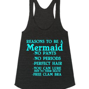 Reasons To Be A Mermaid Racerback Mint-Athletic Tri Black Tank