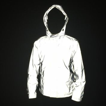 Hot men 3M reflective jacket windbreaker without any logos hip hop autumn womens and mens jackets and coats manteau homme m-4xl
