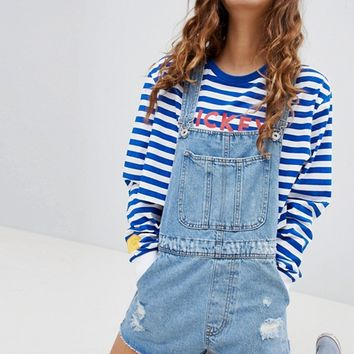 Bershka Denim Short Overalls at asos.com