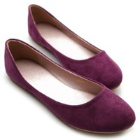 Ollio Womens Shoe Ballet Light Faux Suede Low Heels Flat(6 B(M) US, Purple)