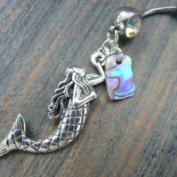 mermaid belly ring with abalone