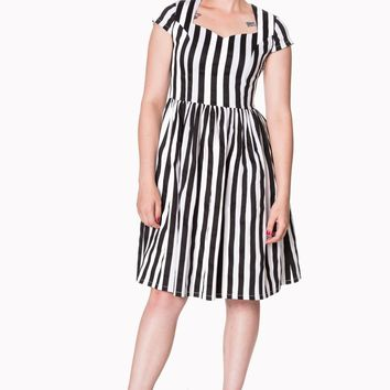 Gothic Black and White Stripes Night Circus Dress