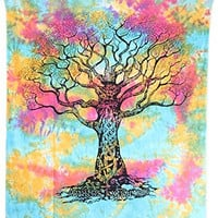 "Amitus Exports ® 1 X Tree Of Life 90""x80"" Approx. Inches Multi Color Queen Size Cotton Fabric Multi-Purpose Handmade Tapestry Hippy Indian Mandala Throws Bohemian Tapestries"