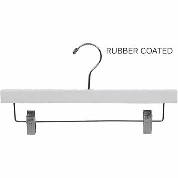 White Rubberized Wooden Pant Hanger with Adjustable Cushion Clips, Rubber Coated Bottom Hangers with Chrome Swivel Hook | Overstock.com Shopping - The Best Deals on Hanging Racks & Hangers