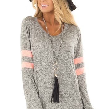 Heather Grey Top with Neon Pink Stripe Detail