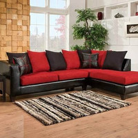Microfiber & Leather 2pc Sectional - Red and Black