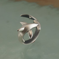 hammerhead  shark ring , silver  SATIN FINISH, Ruby eyes