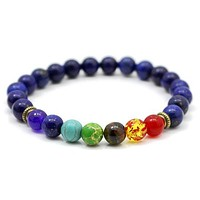 Chakra Bracelet Dark Blue Beads and Colorful Stones