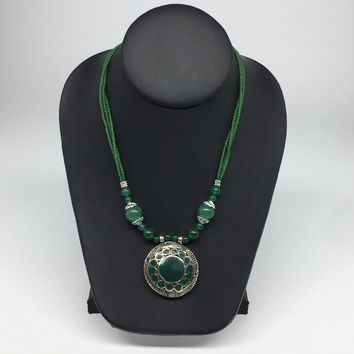Turkmen Necklace Beaded Afghan Ethnic Kuchi Tribal Fashion Green Pendant VS191