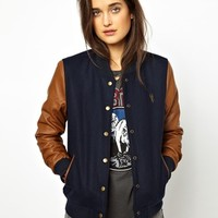 Obey Bomber Jacket With Faux Leather Sleeves at asos.com