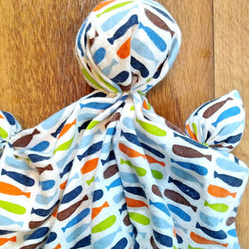 "Plush Doll - Unique Newborn Gift - Soothing Toy - Handmade Doll - Fish Toy - Soft Doll - Lovey Blanket - 100% Cotton Flannel - 11 - 12"" Tall"