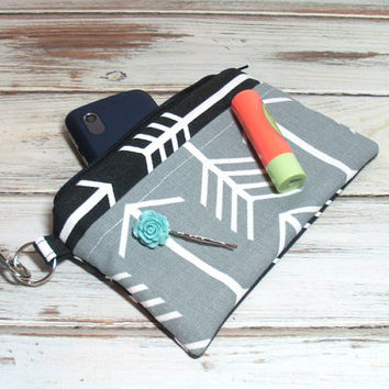 Black Arrow Wristlet - Black Gray Wristlet - Black Clutch - Black Phone Clutch - iPhone Wristlet - Wristlet Purse - Gray Purse Clutch