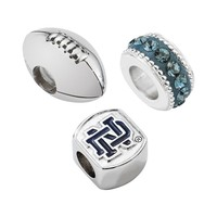 LogoArt Notre Dame Fighting Irish Sterling Silver Crystal Bead Set (Blue)
