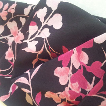 Vintage Crepe Fabric. Black with Pink Leaves and Flowers.