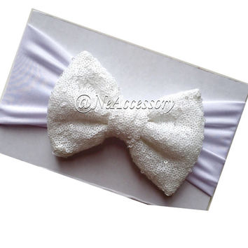 White Sequin Bow, White Sparkly Bow Headband, Big Child Bow Headband, Toddler Hair Accessories, White  Sparkle Headband, New Born- Adult