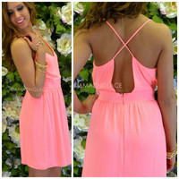 Zinnia Pink Cross Back Dress