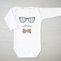 Hipster Baby Bodysuit. Mustache Outfit. Gender Neutral Baby Clothing. Geeky Baby Bodysuit. Long Sleeve White Romper. Baby One Piece