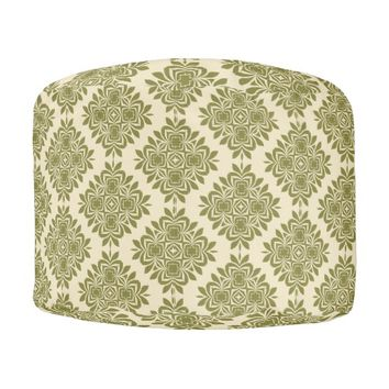 Green Mint Damask Pattern Round Pouf