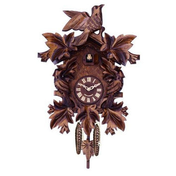 Seven Hand-Carved Maple Leaves And Three Birds German Cuckoo Clock