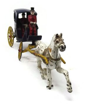 Cast Iron Toy Hanson Cab Horse  and 2 Drivers