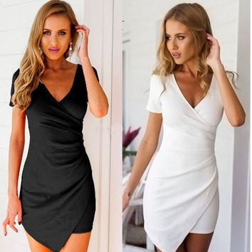 2017 Summer Dress Brand Clothing Irregular White Black Party Dresses Women Bodycon Sexy Femme Luxury Mini Dress Vestidos XXL
