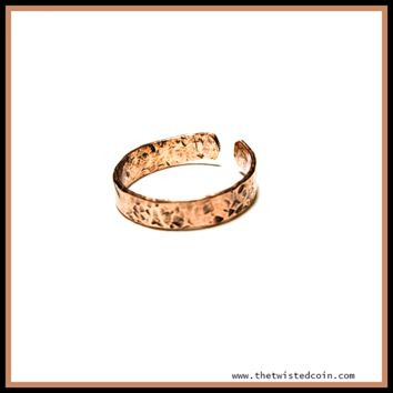 Hand Hammered Copper Ring - Adjustable Size 7-9