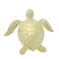 YELLOW GOLD ON SOLID 925 SILVER HAWAIIAN SEA TURTLE HONU SLIDE PENDANT CZ