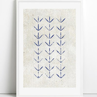 INDIGO Blue SHIBORI Watercolor Painting Prints Linen texture SET of 3, Beach House Bathroom Art Blue Pattern stripes Coastal Nautical decor