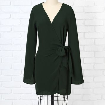 Hunter Green V-Neck Wrap Dress | NRFB