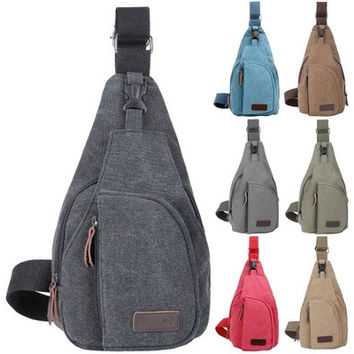 Men Military Small Canvas Satchel Shoulder Bag Messenger Bag Travel Hiking Backpack [8072731527]