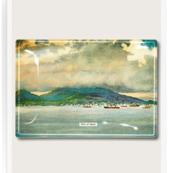 Port Of Spain Seaside Landscape Decoupage Glass Tray