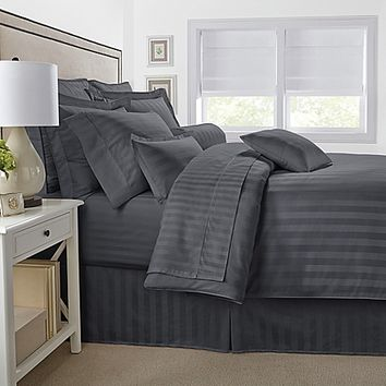 500-Thread-Count Damask Stripe Reversible Comforter Set