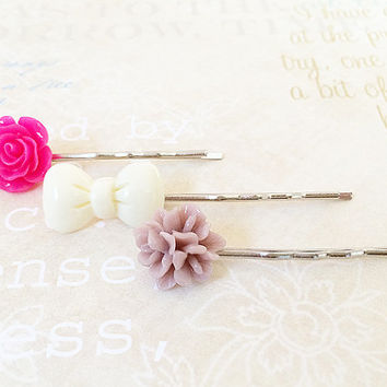 Flower Bobby Pins - Silver Bobby Pins - Shabby Chic Floral Hair Accessory - Bow - Magenta Rose Hair Pin - Curved Bobby Pins - Set of 3