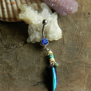 Tribal Beetle Wing Belly Ring