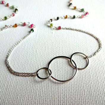 Watermelon Tourmaline & 925 Sterling Silver 3 Circle Charm Double Chain Necklace - Tourmaline Rosary Chip Layered Modern Feminine Necklace
