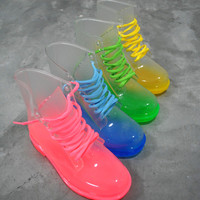 transparent fluorescence candy-colored lace boots