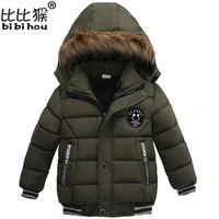 Bibihou Baby Infant Coat Kids Winter Outerwear Hooded Down Jackets Boys Girls Cotton Coat