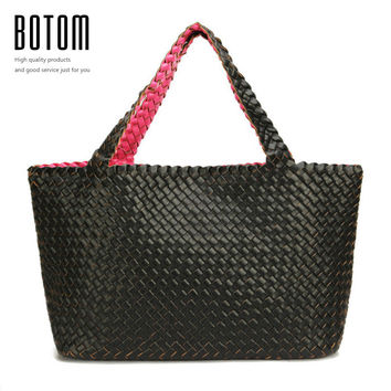 2017 New Fashion Women Woven Handbag Double Colors With Inner Pouch Large Size Purse Weave Leather Shoulder Bags Totes Bag