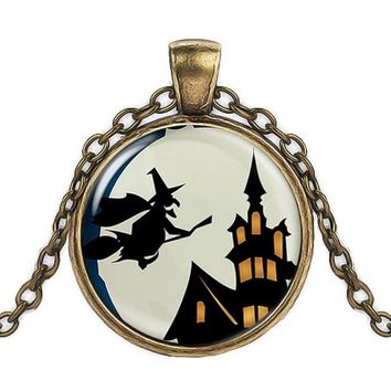 New Style Vintage Halloween Witch Time Stone Pendant Necklace Gold Sliver Color Pendants Charm Chain Necklace Jewelry