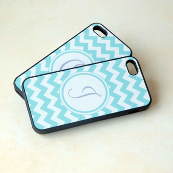 Personalized Phone Cases, Matching Phone Cases for Couples or Best Friends, Geometric Chevron Zig Zag Mint Aqua, Initial Monogram