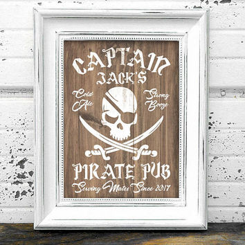 Pirate Bar Sign // Personalized Printable Rustic Pirate Bar Sign // Pirate Pub Sign // Pirate Sign // Pub Sign // Bar Decor // Pub Decor
