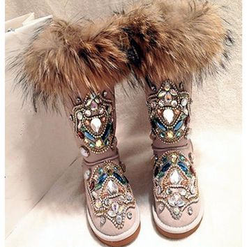 Colorful Rhinestone Snow Boots Luxury Fur Totem Shoes Woman 2016 High Quality Women Boots Casual Flats Dress Shoes Rome Botas 40